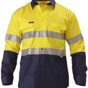 Bisley Hi Vis Cotton Drill Shirt Yellow/Navy 4XL