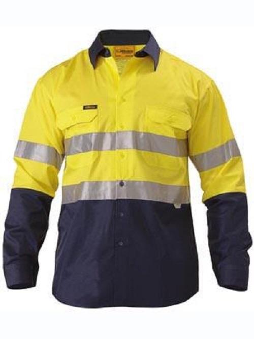 Bisley Hi Vis Yellow Navy Cotton Drill Shirt 4xl